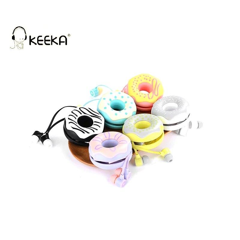 KEEKA Donuts Macarons Cute Wired Earphone Candy Color girl headphone case storage box in-ear for smartphone mp3 portable headset keeka mic 103 stylish universal 3 5mm jack wired in ear headset w microphone red blueish green