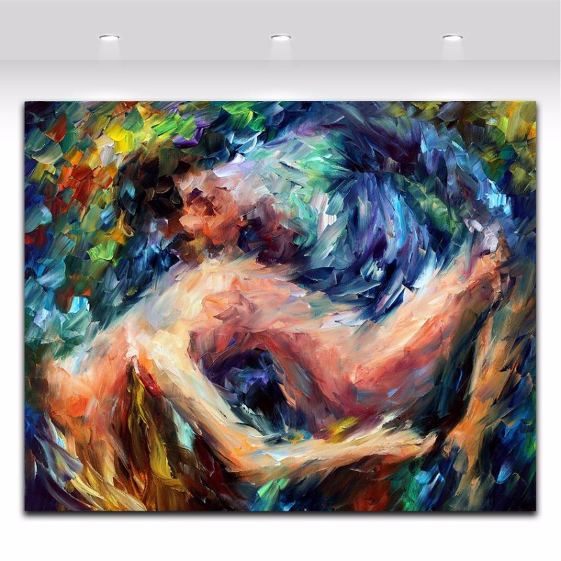 Palette Knife Oil Nude Painting Sexy Naked Woman and man Body Art Picture couple Canvas Painting For Room Wall Art Decoration