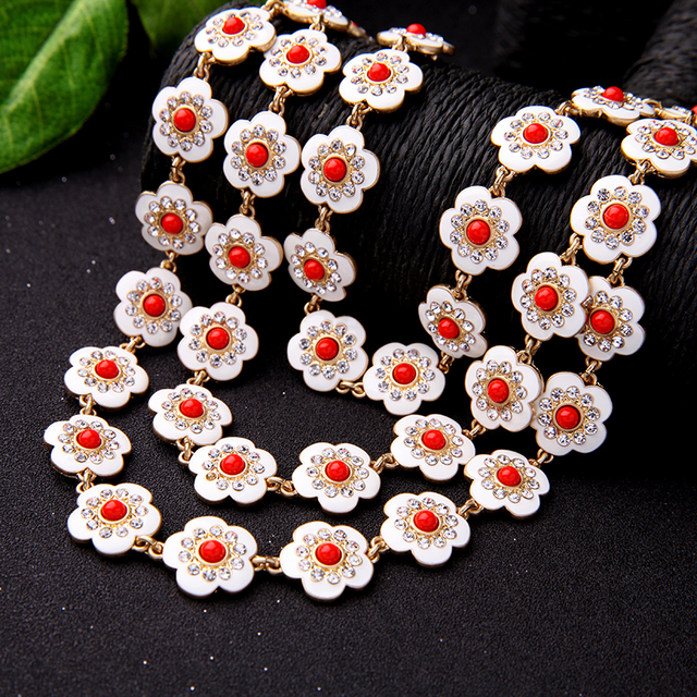 2017 Summer Multi Layer Enamel Alloy Crystal Flower Necklace Women Jewelry Accessories