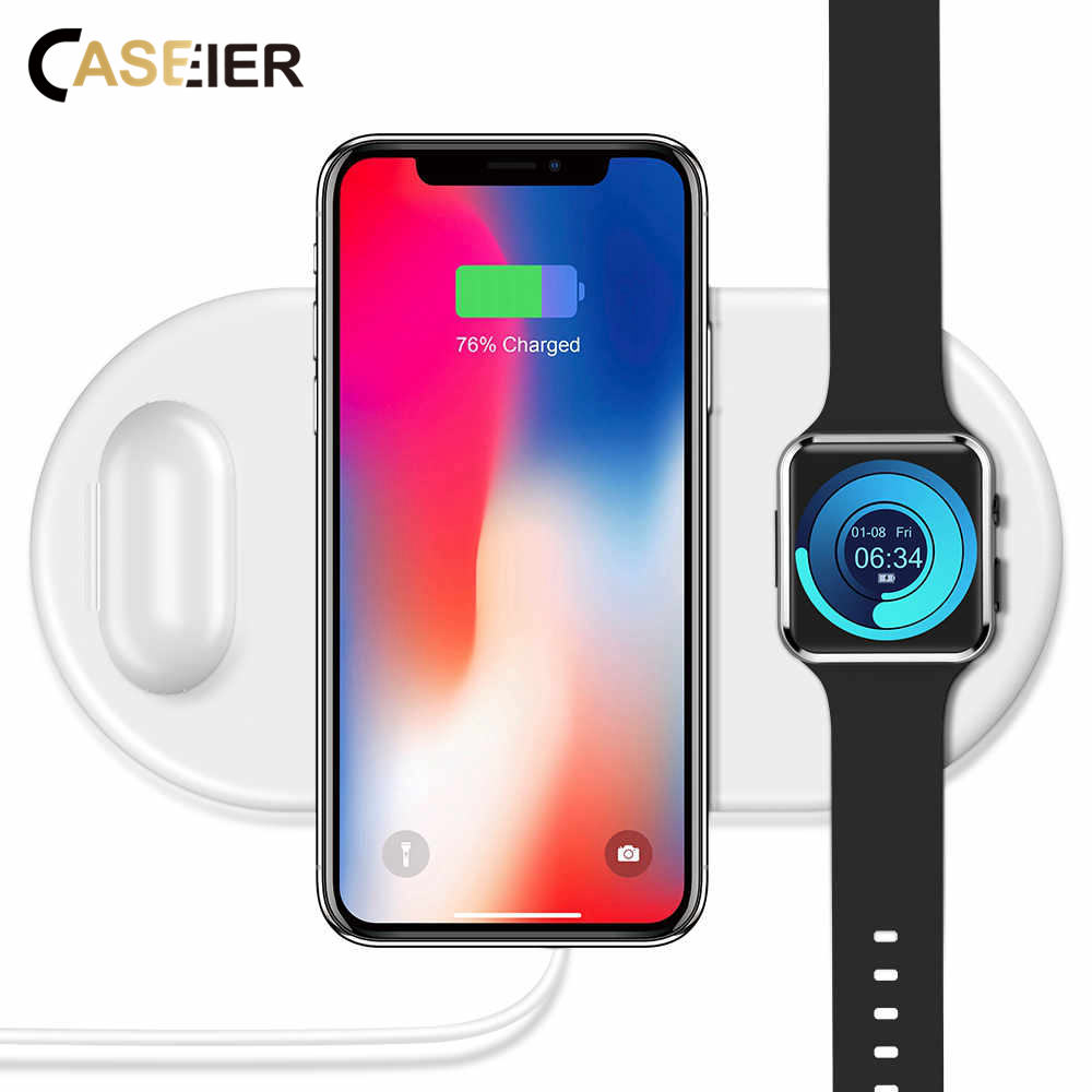 CASEIER 3 In1 QI Wireless Charger For iPhone 8 Plus X XS MAX XR Watch Wireless Chargers For Airpods Charger Fast Charging Pad