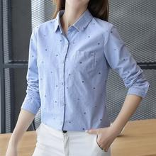 Ladies Print Shirts Long Sleeve Blouse Fashion Casual Slim Cotton Linen Blue White Women Shirt Blusas Office OL Camisa Feminina