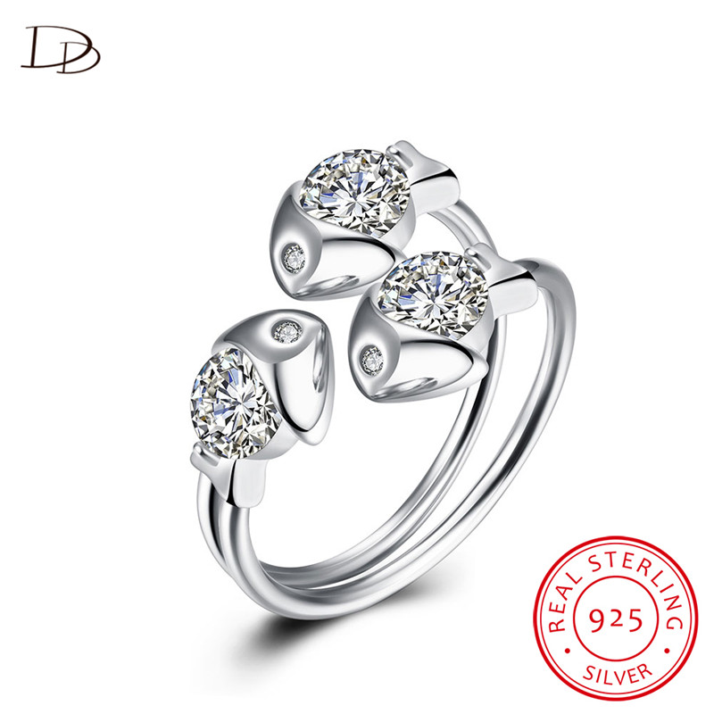 dodo lovely three fish open rings for women pure 925 sterling silver jewelry aaa rhinestone anillos wedding bijoux femme dr030 - Wedding Ring Shop