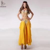 Fashion Dancewear Sexy Belly Dance Costumes Set Bra Women Skirt Belt Clothing Bellydance Long Dress Oriental Beads Costume
