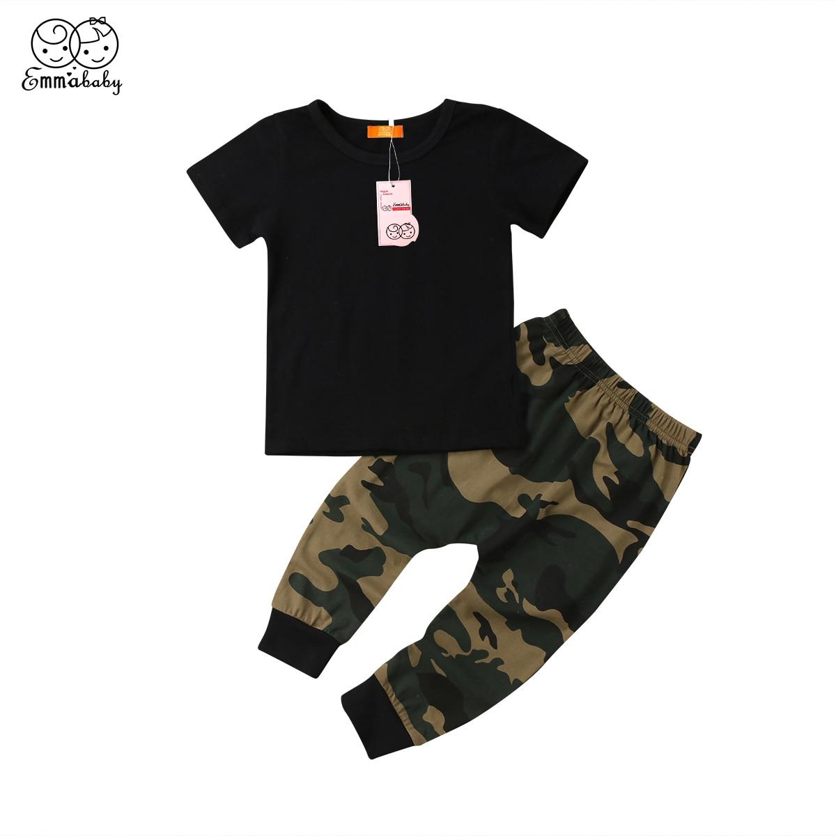 Toddler Kids Baby Girls Short Sleeve Clothes Tops T-shirt Camo Pants 2Pcs Set