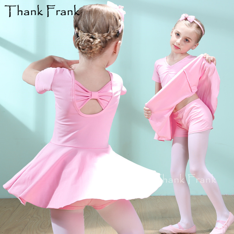 Hot Sale Girls Ballet Dress Kids Short Sleeve Ballerina Costumes Chldren Cotton Ballet Class Dance Clothes Training Dancewear
