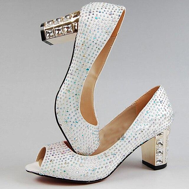 P Toe White Satin Bridal Wedding Shoes Rhinestone Chunky Heel Comfortable Women Dress Kitten