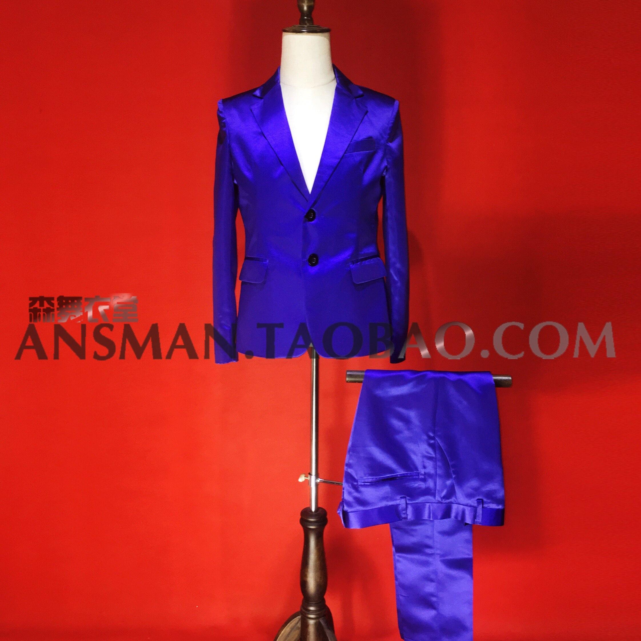 Hot New Blue purple Blazer Men Wedding Suit Jacket Slim Fit Stylish Costumes Stage male satin Singer Blazers suits S 4XL