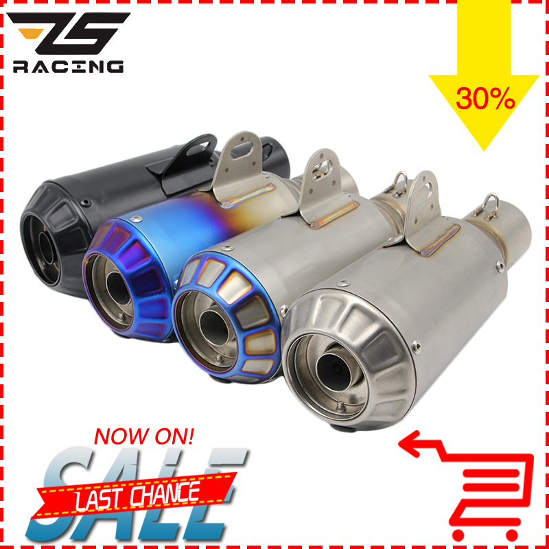 ZS Racing Universal Motorcycle Motocross Modified Scooter Akrapovic Exhaust Muffle Pipe CBR125 CB400 CB600 YZF FZ400 Z750 Z1000 zs motos 6 colors modified motorcycle carbon fiber exhaust muffler pipe for cb400 cbr125 cbr600 yzf z750 z800 z1000