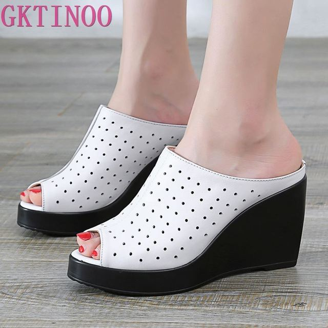 GKTINOO Comfortable Hollow Genuine Leather Sandals Women Slippers 2020 New Thick Bottom Wedges Fashion Sandals Women Shoes