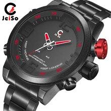 JEISO Moda Desportiva Militar Relógios Men Casual Aço Completa Data LED Quartz Relógio de Luxo Dos Homens Do Exército Relógio de Pulso Relogio masculino