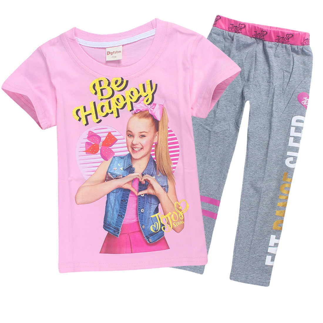 60177a8943 Summer Jojo Siwa Pure Cotton Children Tracksuits for Girls Baby Girl Sport  Suit Costume Set Tops Pants Bobo Choses Teen Clothes