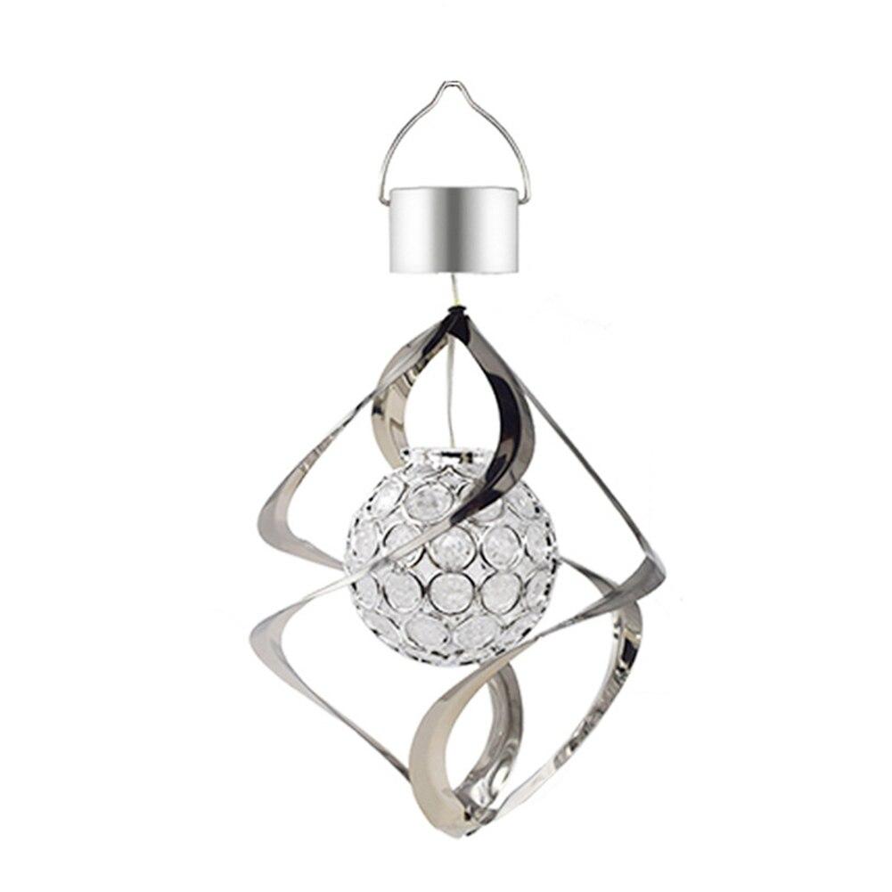 Солнечный ветер Chime LED Изменение цвета подвесной светильник водонепроницаемый спиральный Спиннер лампа для сада двора JA55