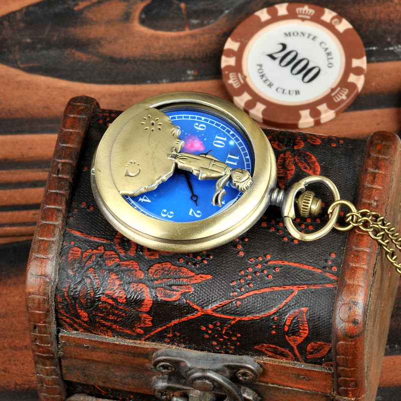 1020      Fashion Gift To Kids Little Boy The Little Prince Planet Blue Bronze Vintage Quartz Pocket FOB Watch Popular Gifts
