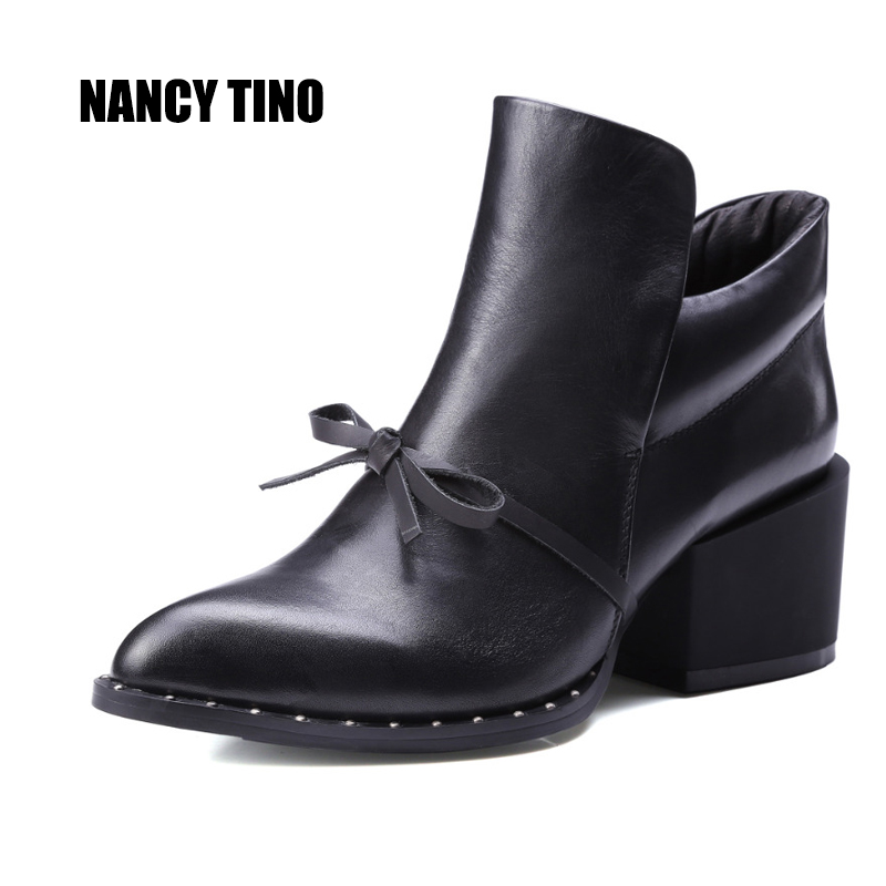 NANCY TINO 2017 New Shoes Woman Spring/Autumn Ankle Boots For Women Genuine Leather Booties Fashion Ladies Martin Short boots zhen zhou 2017 spring and autumn women s new fashion trend leadership the increased martin boots exemption from postage
