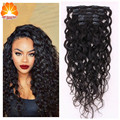 DHL Free Clips in 100% Virgin Human Hair Extensions Water Wave Clips in Brazilian Human Hair Extensions 7Pc/Set