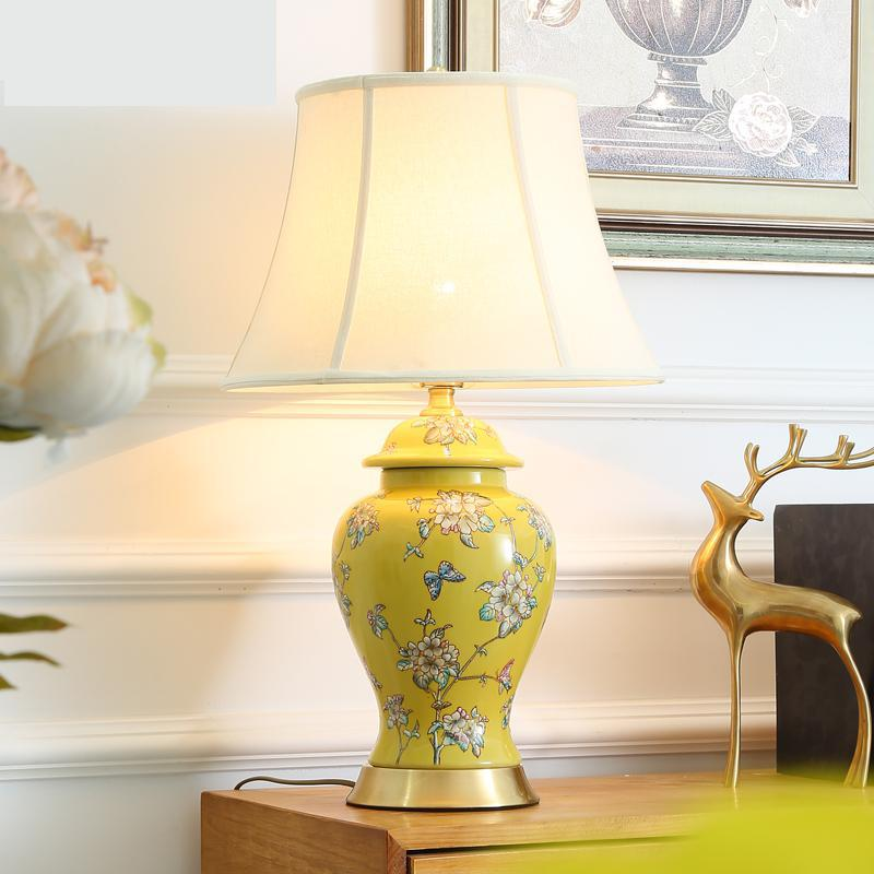 Us 289 0 American Table Lamp Ceramic Yellow Living Room Bedside Lamp New Chinese Style All Copper Retro Dimming Jingdezhen Table Lamp In Table Lamps