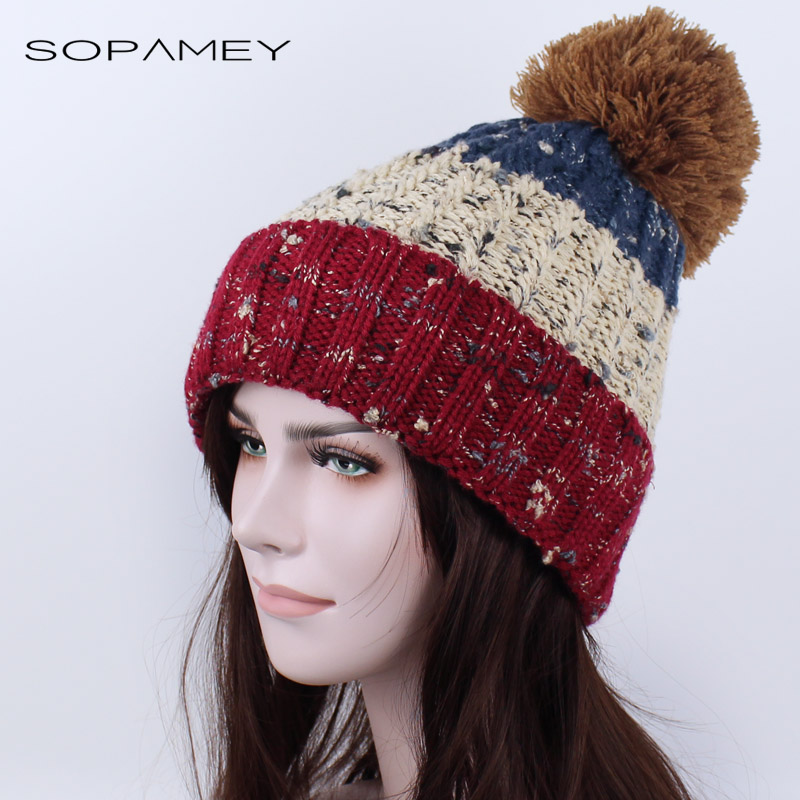 Women's winter hat knitted pompom beanies female fashion skullies casual outdoor ski caps thick warm Plus cashmere hats for Girl skullies beanies the new russian leather thick warm casual fashion female grass hat 93022