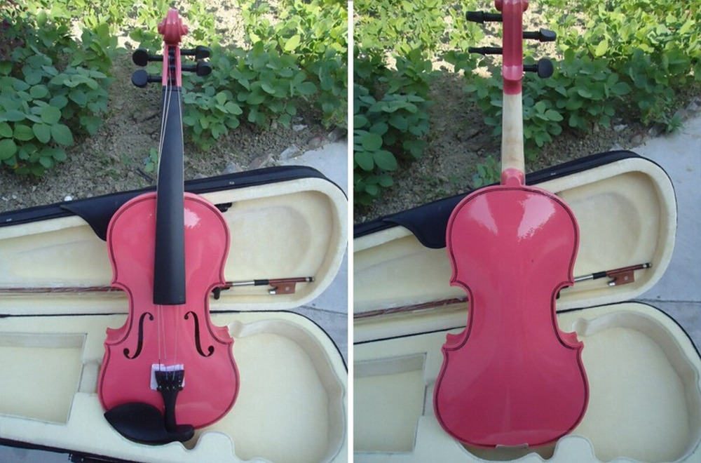 High quality Pink Violin 4/4 1/4 3/4 1/2 1/8 Size Available Violin in Full Set with Bow/Rosin/Case Colorful Violins Available 1 4