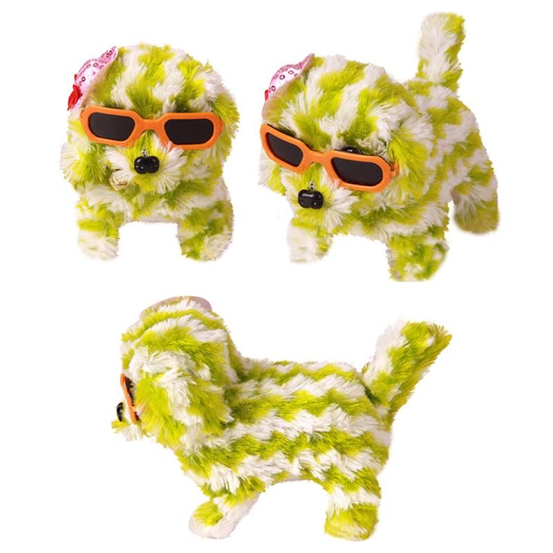 Kids Kawaii Fashion Stuffed Plush Electric Striped Glasses Dog LED Flashing Can Walk with Sound Child Christmas Gifts Dolls P15