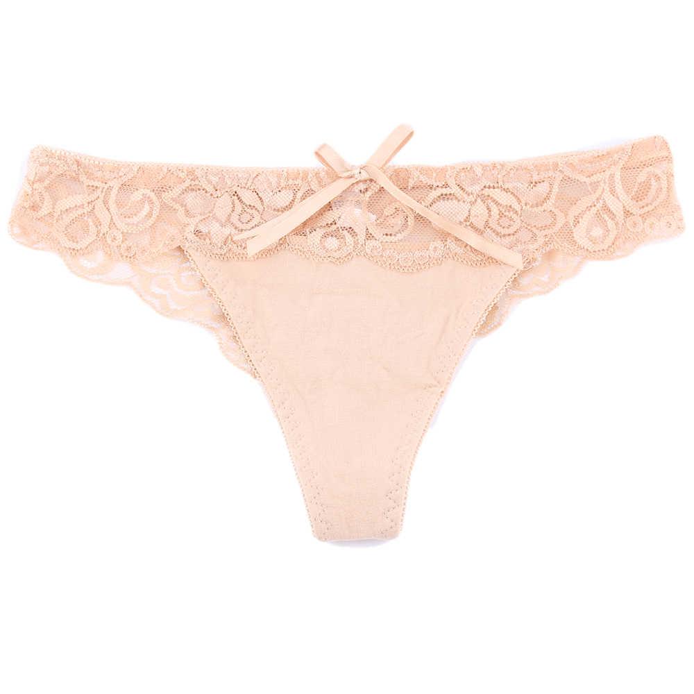 1 adet kadınlar için seksi iç çamaşırı külot düşük bel şeffaf iç çamaşırı dantel çiçek G-string tanga Hollow Out külot