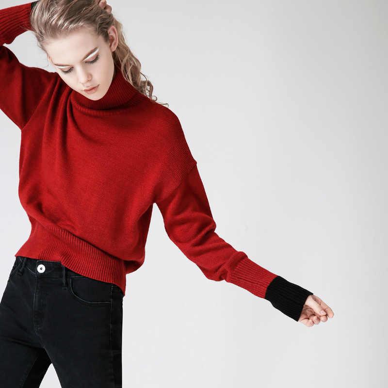 Toyouth Sweater Wanita dan Pullovers Musim Gugur Turtleneck Lengan Panjang Tarik Femme Hitam Warna Merah Wanita Kasual Merajut Sweater