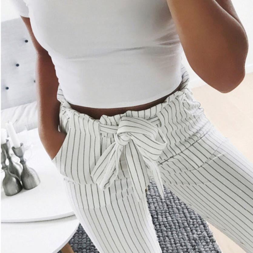 High waist zipper fly trousers 2018 spring new casual carrot pants self belt striped pants women fashion clothing