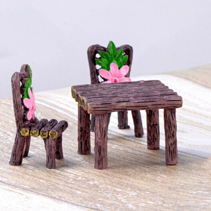 Home 1 Set=2pcs Resin Craft Ornaments Micro Decor Dollhouse Mini Toy Garden Home Bonsai Table Desk Chair Miniature Decoration
