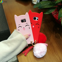 New 3D Cartoon Smile Cat Ears Beard Soft Silicon Phone Case for Samsung galaxy s7 s7edge s8 s8 plus Rubber with fur ball cover