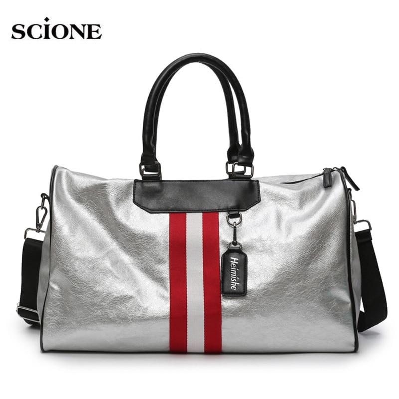Women PU Soft Leather Fitness Gym Bags For Men Striped Training Shoulder Sports Bag Handbag Traveling Bag Sac De Sport XA628WA