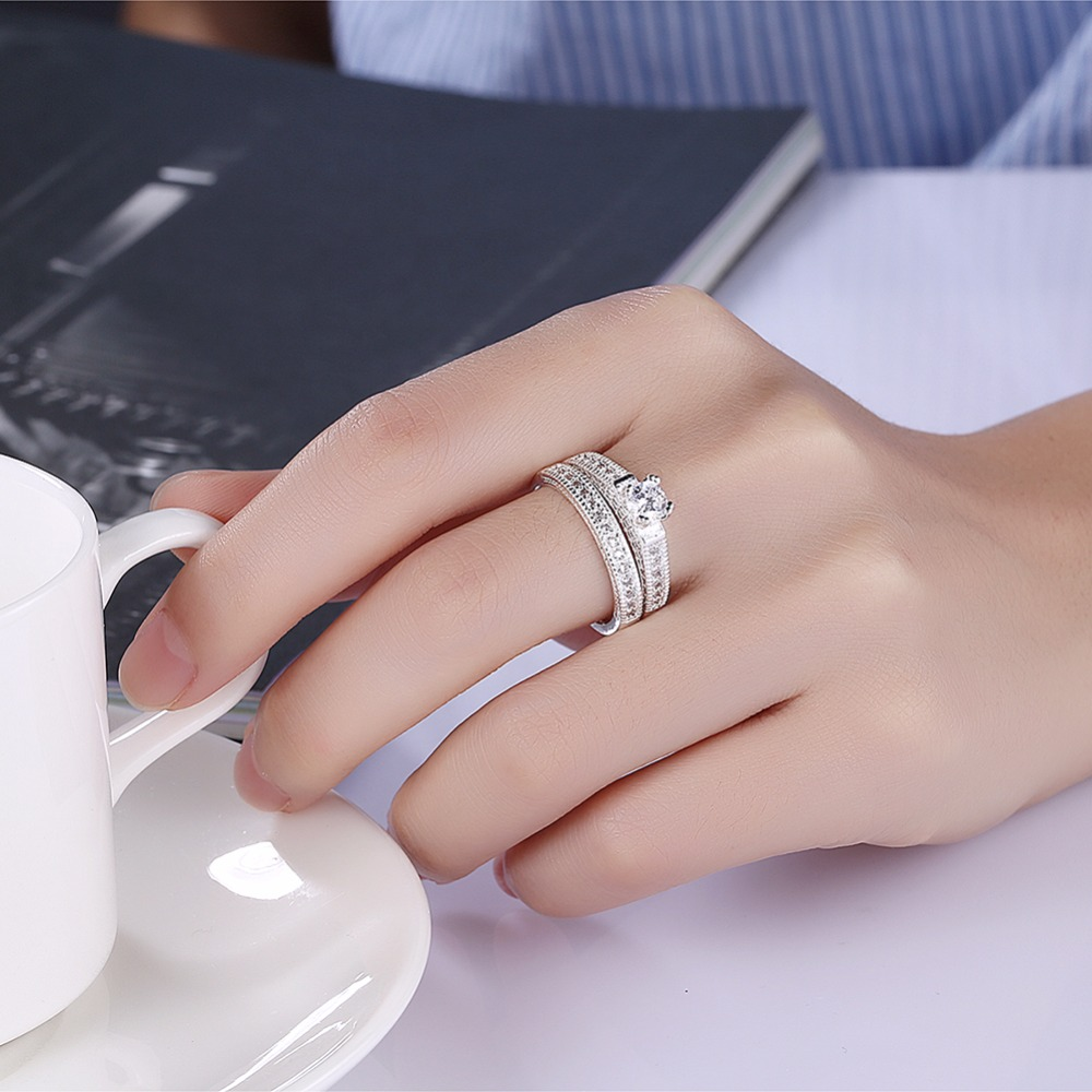 New 925 Hot Sales Silver Color AAA Zircon Engagement / Wedding Ring ...