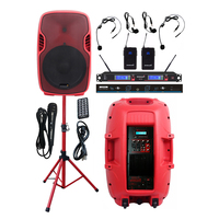 STARAUDIO 15 Inch 3500W Active Powered Club PA DJ Karaoke Speaker Stage Stand 2 Channel UHF Wireless Headset Microphone SSRM 15