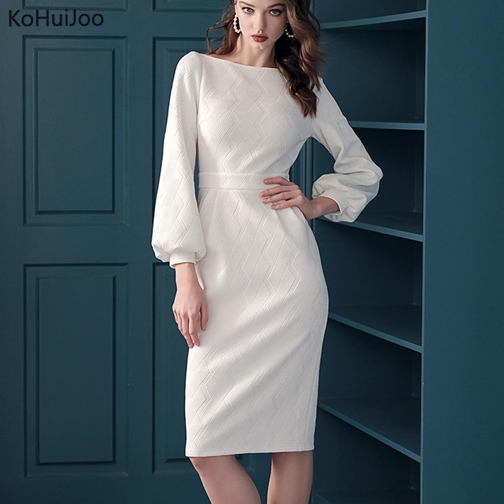 KoHuiJoo High Quality Jacquard Dress for Women Black White Slash Neck Lantern Sleeve Office Ladies Elegant Pencil Dresses