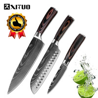 XITUO 3PCS Kitchen Knives Sets Japanese Paring Utility Santoku Chef Slicing Bread Stainless Steel Knives Kitchen Tool Accessorie