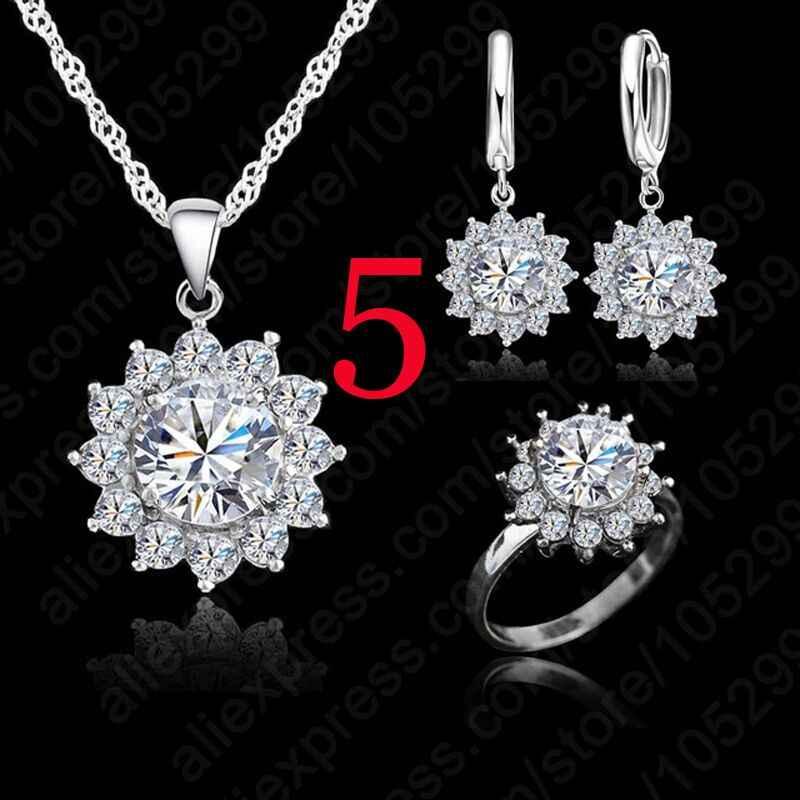 Valentijn Dag Gift Zon Bloem Zirconia 925 Sterling Zilveren Sieraden Sets Oorbellen Hanger Ketting Ringen Size5-9