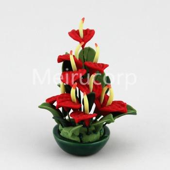 1:12 scale dollhouse mini Potted plant model Handcrafted Anthurium 12128 1 12 dollhouse miniature potted plant ceramic pot brasiletto