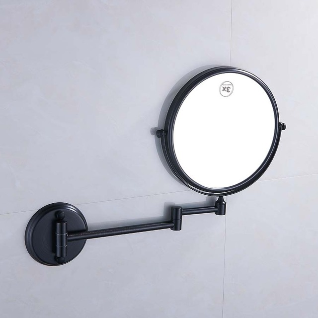 Wall Mounted Brass Bathroom Accessories 1/3/5X Mirror Adjustable Distance  Round Chrome Finished Makeup Mirror Espelho E