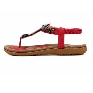 Image 4 - BEYARNE חדש קיץ סנדלים שטוחים גבירותיי קיץ בוהמיה חוף כפכפים נעלי נשים Scarpe דונה Zapatos Mujer Sandalias