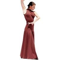 Original Modern Dance Dresses For Ladies Backless Brown Color Sleeveless Competitive Wear Fantasia Women Feminine Costumes Q5032