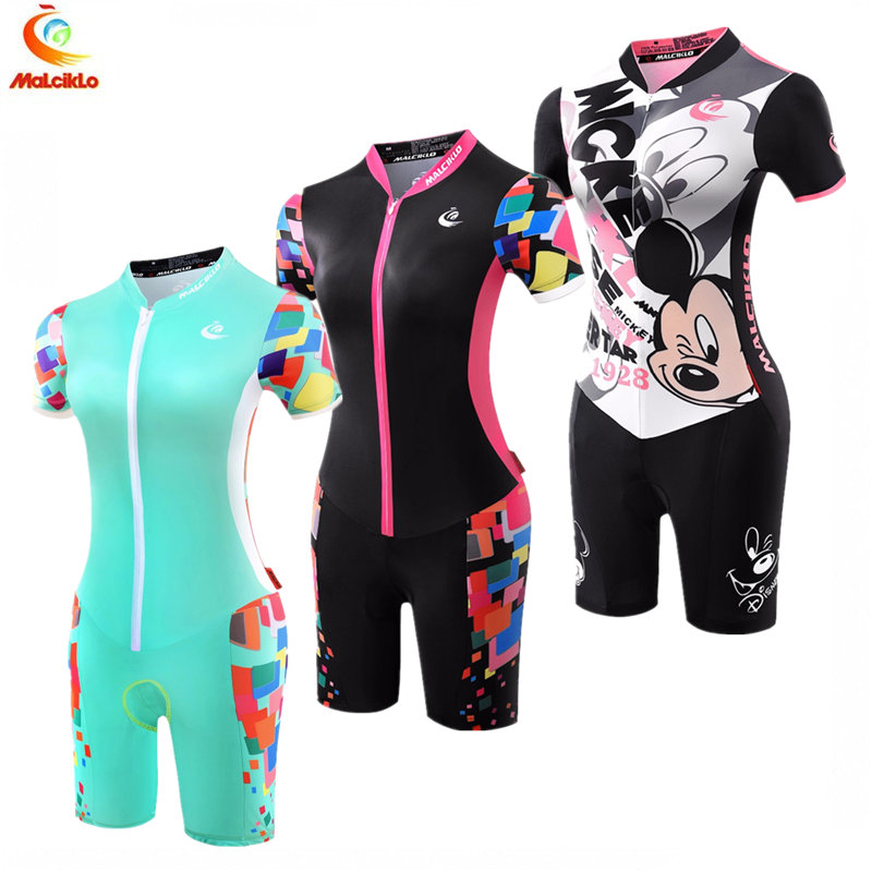 Malciklo Women Short Sleeve Jumpsuit 2019 Pro Taem Triathlon Suit Ropa Ciclismo Maillot Sykling Jerseys Skinsuit Bike Clothing