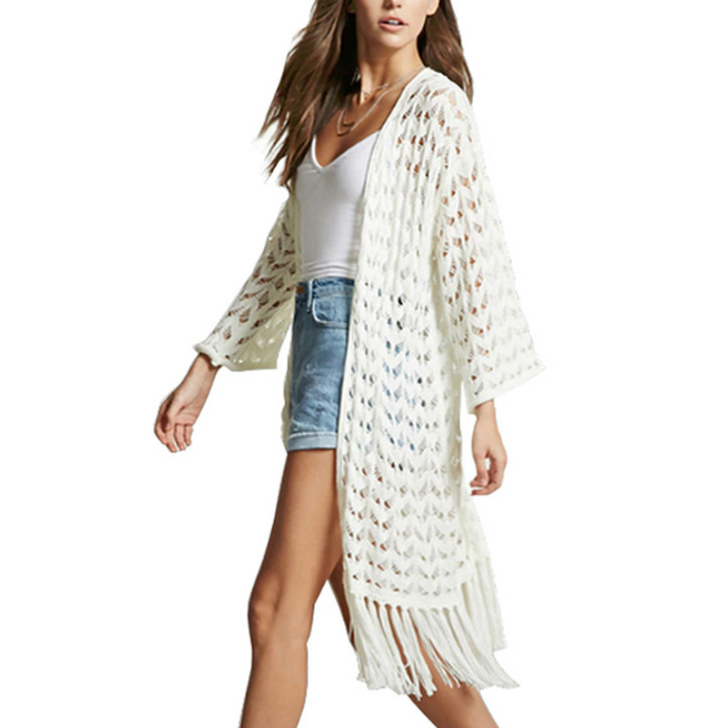 Chic V-Neck Hand Knitted Cardigan Long Knit Tassel Flower Hook Fringed Jacket Kimono Hollow Long Crochet Coat