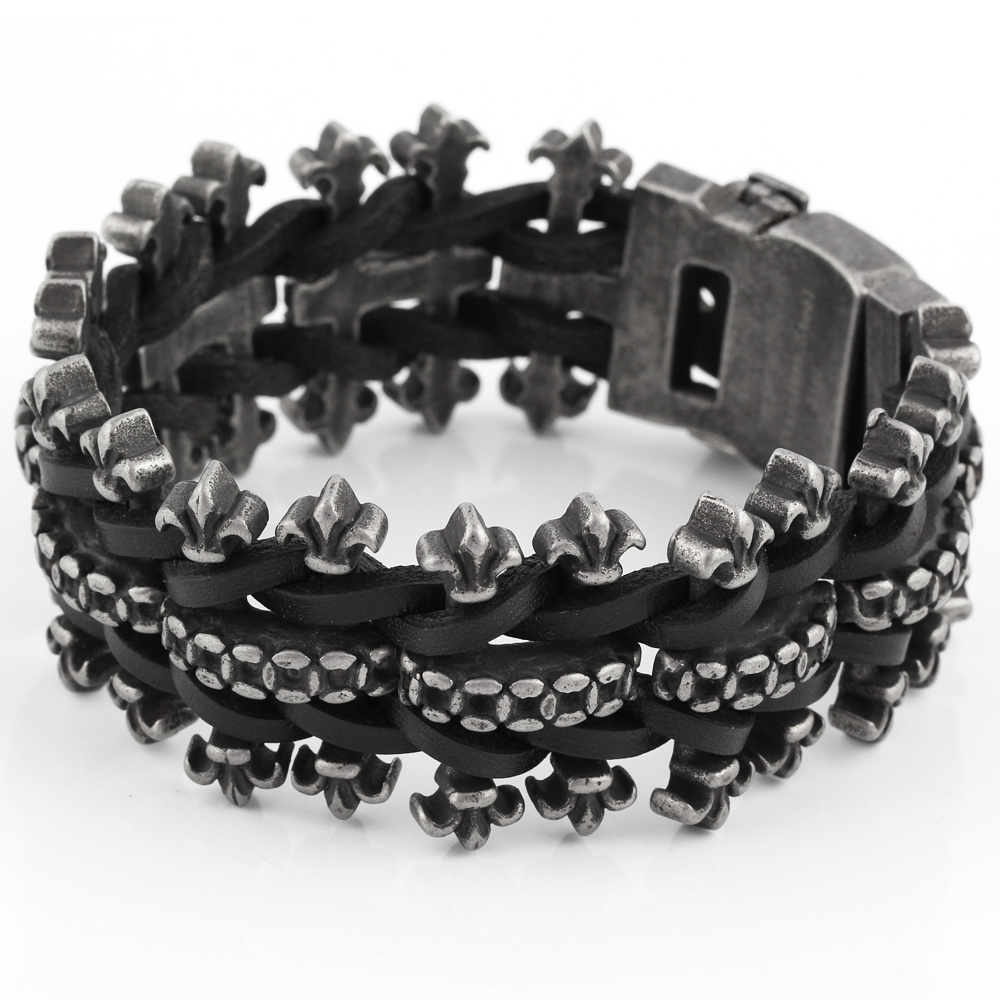2016 New Genuine leather bracelet men stainless steel Bracelet wholesale fashion large bracelet bangle