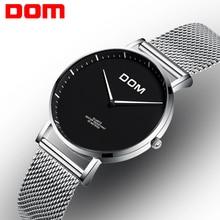 Women Watch DOM Rostfritt stål kvarts lyx Armbandsur Fashionwaterproof klockor vit stilig reloj feminino 2G36D1MS
