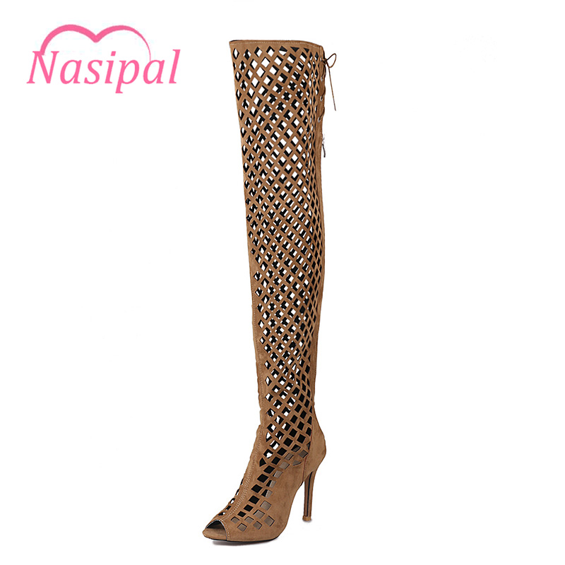 Nasipal Thigh High Gladiator Sandals Boots Women Sexy Peep Toe Netted Cut-out Over The Knee Boots High Heels Sandals Size46 C088 hot boots women sexy black thigh high boots peep toe soft leather back zip high heels over the knee boots gladiator sandal boots