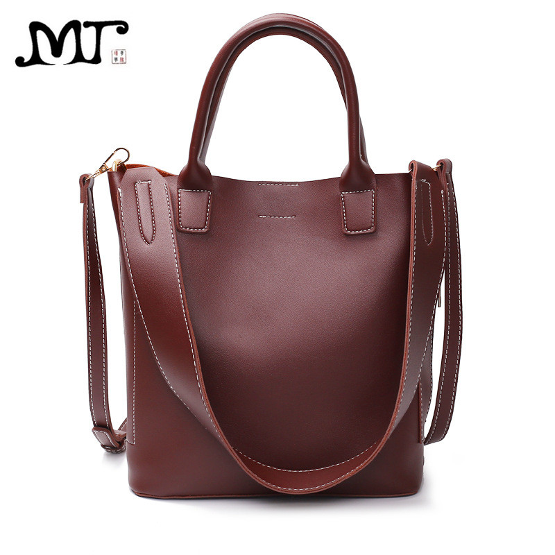 MJ Women Leather Shoulder Bag Female Tote Bags PU Leather Handbag Crossbody Messenger Bags Large Composite Bag for Girls qimanshi two pieces shoulder tote bag female famous brand 2017 women messenger bags handbag pu leather composite bag bolsas