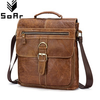 SoAr 100 Genuine Leather Men Messenger Bags Vintage Handbags Shoulder Bags Male Tote Casual Luxury Brand