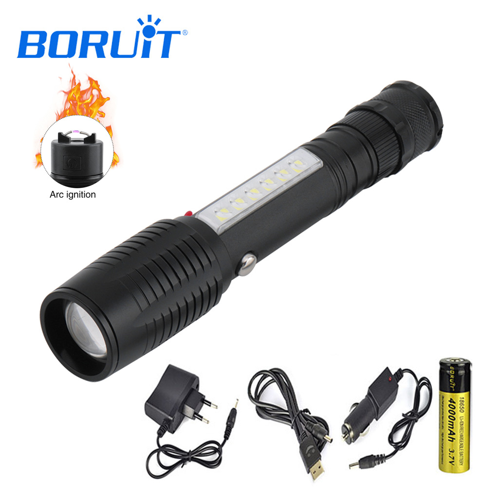 BORUIT LED 4 Modes Flashlight Zoomable Lighter Flashlight Use 18650 Battery Rechargeable Torch Camping Outdoor ignition lantern