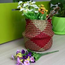 hot deal buy wcic folding seagrass storage basket rattan handmade laundry baskets flower pot hanging garden planter organizer