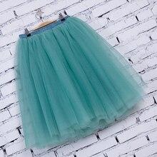 7 Layers Midi Tulle Skirts Womens Fashion Pleated TUTU Skirt Elegant Wedding Vintage Lolita Petticoat faldas mujer saias Jupe
