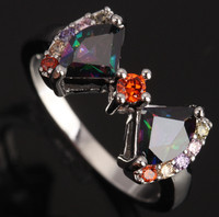 Absorbing Bowknot Mystic Rainbow Colorful Gems Jewelry Fashion 925 Sterling Silver Women's Jewelrys Rings Size 6 7 8 9 S0318
