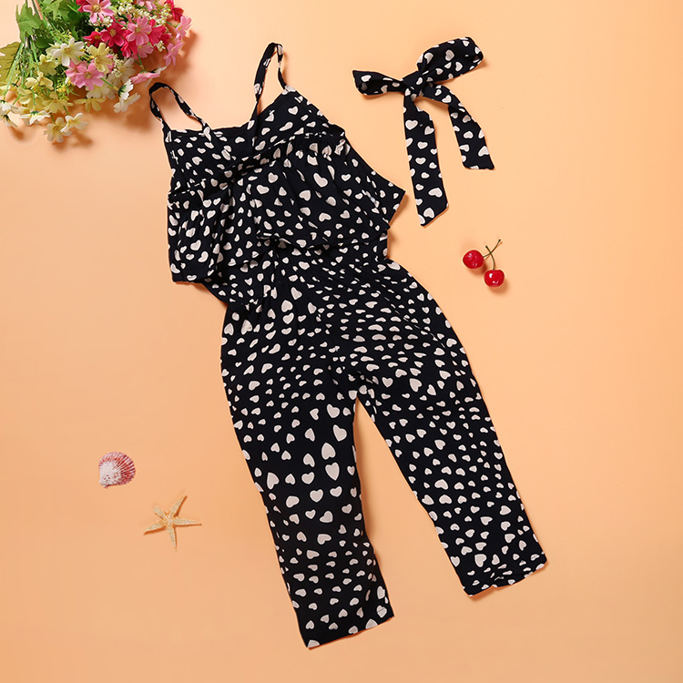 New Fashion Summer Kids Girls Clothing Sets Cotton Sleeveless Polka Dot Strap Girls Jumpsuit Clothes Sets Outfits Children Suits 7